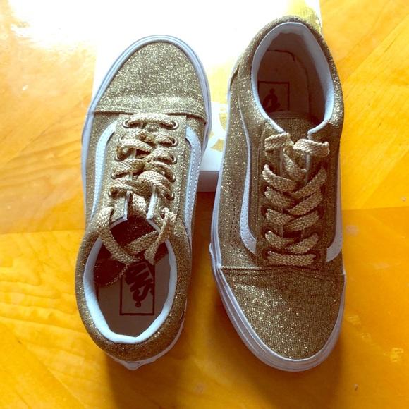Vans Shoes | 45 Girls Gold Metallic